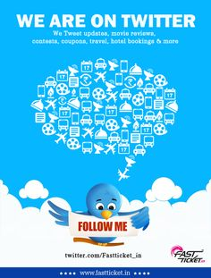 World is getting closer then why not us? Get exclusive updates on Movies, Recharges, Hotels & Travel bookings now on Twitter. Hit follow: https://twitter.com/Fastticket_in