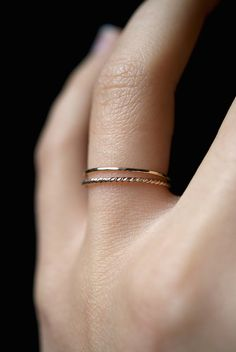 14K Gold fill Twist stacking rings gold stack ring by hannahnaomi