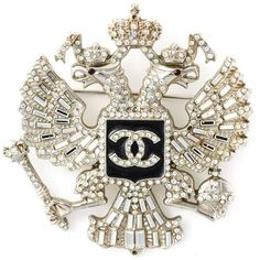Chanel Vintage logo brooch (£275) ❤ liked on Polyvore featuring jewelry…