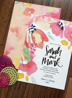 Custom Watercolor Wedding Invitation Design Hand by Makewells, $300.00