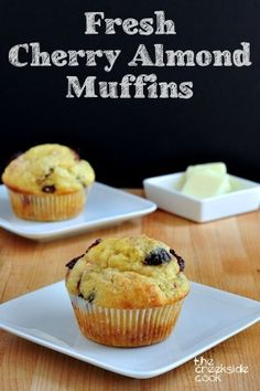 Perfectly wonderful Fresh Cherry Almond Muffins | The Creekside Cook | #cherries #muffins #baking
