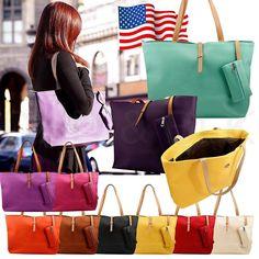 d0786e10fdee Women Faux Leather Handbag Shoulder Tote Purse Shopper Tote