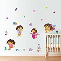 Dora the Explorer Peel & Stick Wall Decals Art Home Decals Vinyl DIY Removable Mural Decor. Kids Room Wall Stickers, Wall Stickers Murals, Nursery Wall Decals, Butterfly Wall Decals, Flower Wall Stickers, Dora Wallpaper, Custom Wall Decals, Dora The Explorer, Baby