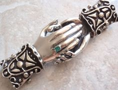Clasped Hands Belt Buckle Natural Emerald Nickel Silver Large Ornate