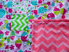 Handmade Nursery Bright Pink and Green Flannel Baby Quilt ** Check out this…