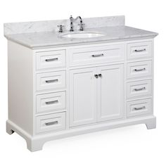 Aria 48-inch Bathroom Vanity (Carrara/White): Includes a White Cabinet with Soft Close Drawers, Authentic Italian Carrara Marble Countertop, and White Ceramic Sink