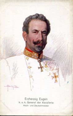 Archduke Eugen of Austria Teschen (1863-1954) lived to the grand old age of 91.  Like many of the male Habsburgs, Eugene was a military man.  He fought for the Central Powers on the Italian front during WWI.  At the end of WWI Eugene retired from the army and was exiled from Austria along with other members of his family.
