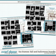 Cindy's Layered Templates - Fun Frame Fall & Halloween Bundle by Cindy Schneider Halloween Themes, Fall Halloween, Frame Template, Scrapbook Templates, Summer Photos, Autumn Theme, Digital Scrapbooking, Frames, Sketch