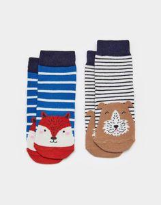 Joules UK NEAT FEET BabyBoys Two Pack Bamboo Socks Fox