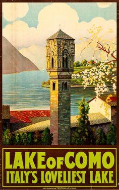Lake Como, Italy Travel Poster (Arti Grafiche Testoni & C., Como, Italy, 1920s)