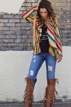 - Serape Cardigan - Draped Lapel - Pockets - Made in America - Model is 5'9, size 9/10, wearing the Medium This garment is handmade. As such, variances in shade or weaving in the fabrics are common, t