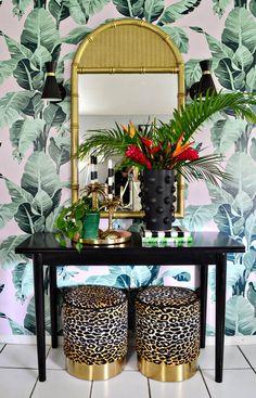 Serene & Co. One Room Challenge Fall 2019 Reveal // Palm Beach meets Miami Art D Art Deco Living Room, Art Deco Bedroom, Bedroom Decor, Decor Room, Design Bedroom, Leopard Print Chair, Leopard Print Bedroom, Leopard Decor, Style Miami