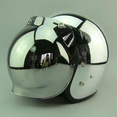 Hot sales Silver mirror chrome motorcycle helmet Vintage scooter open face helmet Harley Retro moto casco DOT capacete - Frost yourself! Half Helmets, Open Face Helmets, Vespa, Cafe Moto, Cafe Racer Style, Custom Helmets, Ducati Scrambler, Bike Accessories, Car Wheels