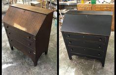 Pine Secretary Desk Refinished In Tantalizing Teal