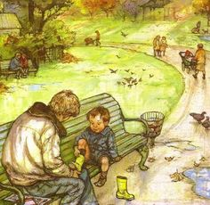 An illustration from 'Alfie's feet' by Shirley Hughes. Haven't read or heard of it, but this illustration makes me want to check it out!