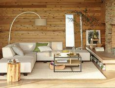 wohnzimmer mit offener küche im grauen landhausstil | steinwand ... - Wohnzimmer Landhausstil Wandfarben