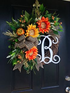 NEW Fall Wreath for Door Monogram Wreaths Fall by FleursDeLaVie