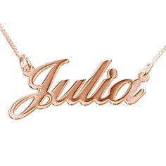 Collar con baño de Oro Rosa con nombre estilo Julia. Collar de Plata 925 con Baño de Oro Rosa de 18K personalizado con el nombre hecho con un estilo de letras dulce y elegante. (Ref.29001-06)