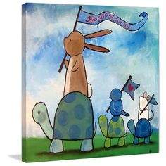 Marmont Hill - 'Turtle Parade' by Andrea Doss Painting Print on Wrapped Canvas