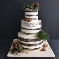 Tiny Sarah's Cakes for Sugarplum Cake Shop - Naked winter wedding cake - Gâteau de mariage d'hiver - inspiration