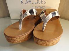 a6f50cce51889 K Jaques St Tropez Diorite Wedge Thong Grey 38 NIB New