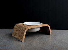Modern Dog Feeder   Pine Stand   Porcelain Bowls   Short Version
