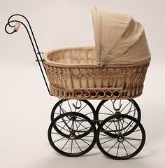 This lovely play pram features a calico fold down hood. Pram Stroller, Baby Strollers, Baby Doll Nursery, Vintage Pram, Baby Buggy, Dolls Prams, Princess And The Pea, Baby Prams, Miniature Rooms