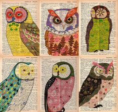 dictionary owl prints