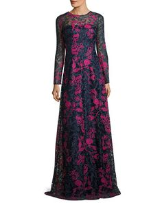 Long-Sleeve+Embroidered+Floral+Lace+Gown,+Blue/Multicolor+by+David+Meister+at+Neiman+Marcus.