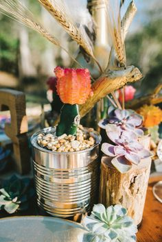 #DIY centerpieces | Hello Miss Lovely Photography | http://burnettsboards.com/2014/01/free-spirited-bohemian-diy-wedding/