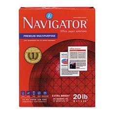 Navigator Premium Multipurpose #Paper, 97 Brightness, 20lb, 8-1/2x11, White, 5000/Carton