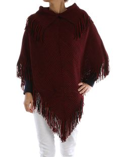 - RED COLLAR KNIT PONCHO WITH FRINGE - 30 INCH LONG - 100% ACRYLIC - ONE SIZE