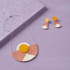 These leather earrings are a project featured in issue we include a range of different independent designer-makers every month. Mollie Makes, More Than One, Leather Earrings, Make It Yourself, Christmas Ornaments, Holiday Decor, Unique, Projects, Awards