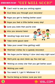 Get Well Soon! List of 33 different get well wishes in English with get well soon images. Learn these get well soon messages to increase your vocabulary words i English Learning Spoken, Learn English Grammar, English Language Learning, Learn English Words, Grammar Check, Essay Writing Skills, English Writing Skills, Writing Words, English Lessons
