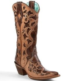 50b634f311b1 Corral Cut-Out Cowboy Boot Chocolate Truffle Sand   Vintage Series Textured  and pieced leather