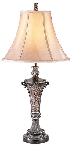 Features:  -Table lamp.  -Shade material: Fabric.  Fixture Finish: -Bronze.  Distressed: -Yes.  Fixture Material: -Other/Metal.  Bulb Type: -Incandescent. Generic Specifications:  -Switch: 3 Way. Dime