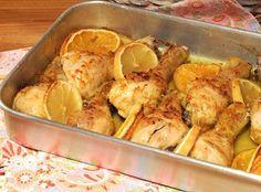 Perninhas de frango no forno com laranja e limão - http://www.receitasparatodososgostos.net/2016/04/22/perninhas-de-frango-no-forno-com-laranja-e-limao/