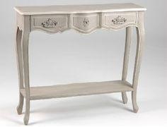 Meuble d'entrée de charme, console avec un tiroir patinée lin de la marque Amadeus en vente sur www.legrenierdejuliette.com