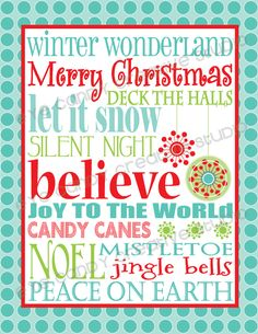 Eye Candy Creative Studio: {FREE Christmas Subway Art} print for download