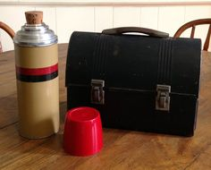 Industrial lunch box with corked Thermos black domed lid metal handle hipster retro chic mid century man gift kitchen food storage decor