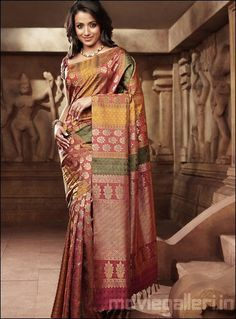 a pink yellow green and gold multi coloured wedding reception silk pattu saree from pothys