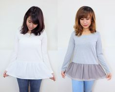 This sweater features a cute layered tulle hem and dropped long sleeves. http://www.megapui.com/index.php?id_product=374&controller=product&id_lang=1