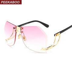 838f42bcd5 Aliexpress.com   Buy Peekaboo oversized rimless sunglasses women vintage  frameless sunglasses for women clear lens uv400 pink brown from Reliable  rimless ...