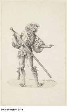 """Henkersknecht von vorn, mit gezogenem Schwert"" (Executioner mercenary from the front, with a drawn sword), 1518. Attributed to Niklaus Manuel, but could also be Urs Graf."