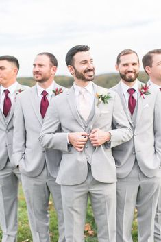 Wedding fall groomsmen, groom and groomsmen attire, groomsmen outfits, fa. Grey Suit Wedding, Maroon Wedding, Wedding Men, Dream Wedding, Farm Wedding, Ivory Wedding, Burgundy And Grey Wedding, Wedding Ideas, Fall Wedding Suits