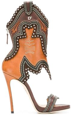 Rodeo Girl Leather Sandals - These are interesting - Hot High Heels, High Heel Boots, Bootie Boots, Sexy Stiefel, Rodeo Girls, Botas Sexy, Designer Sandals, Sexy Boots, Crazy Shoes