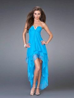 A-line Notched Chiffon Asymmetrical Tiered Prom Dresses