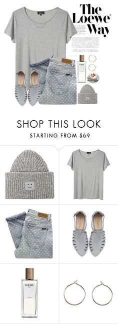 """Hangin' round downtown by myself  And I had too much caffeine"" by princessauden ❤ liked on Polyvore featuring Loewe, Acne Studios, A.P.C., Paul by Paul Smith, Saskia Diez, PolkaDots, casualoutfit, earrings, apc and chicflats"