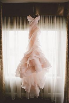 Always loved this idea - wedding dress photo shoot. Blush pink wedding gown by MXM Couture. The Wedding Scoop Spotlight: Coloured and Non-white Wedding Dresses Non White Wedding Dresses, Rose Gold Wedding Dress, Blush Pink Wedding Dress, Blush Bridal, Structured Wedding Dresses, Wedding Robe, Tulle Wedding, Gold Dress, Fru Fru