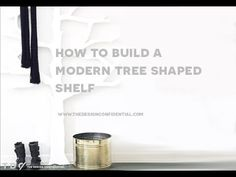 How To Build a DIY Modern Tree Shaped Wood Bookshelf from The Design Confidential Tree Furniture, Kids Furniture, Woodworking Workshop, Woodworking Projects, Wood Bookshelves, Book Shelves, Playroom Design, Playroom Ideas, Tree Shelf